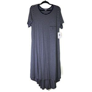Striped LuLaRoe Carly Dress XL Gray Navy Blue BNWT